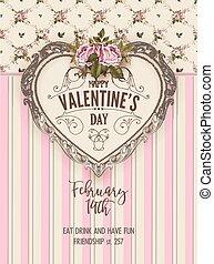 fél, flyer., vektor, nap, valentines