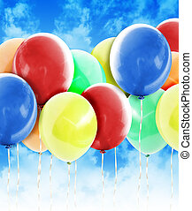 fél, léggömb, színes, ünneplés