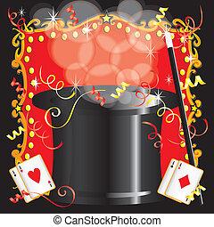 fél, magician's, varázslatos, születésnap, cselekedet