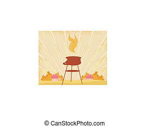 fél, meghívás, grillsütő