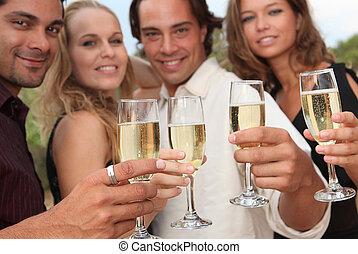 fél, pirítós, pezsgő, csoport, emberek