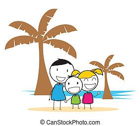 fél, tengerpart, gyerekek