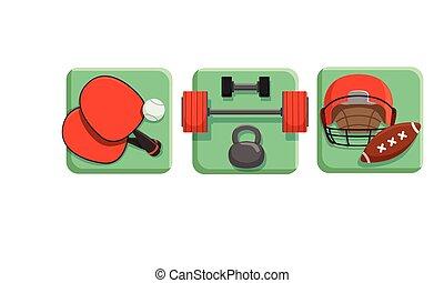 félcédulások, állhatatos, játék, nehéz, asztal, sport, tenisz, ikonok, lárma, vektor