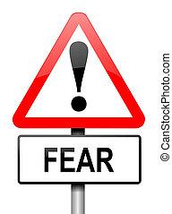 félelem, figyelmeztetés, concept.