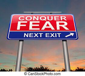 félelem, meghódít, concept.