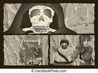 félelem, oldal, komikus, csontváz