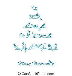 félicitation, arbre, -, noël, invitation, vecteur, oiseaux, carte