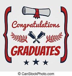 félicitation, diplômés, diplômé, bannière, carte, design.
