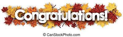 félicitations, bannière, leaves., érable
