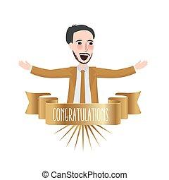 félicitations, champion, business, reconnaissance, gagnant, ruban, mois, mieux, employé, accomplissement, heureux