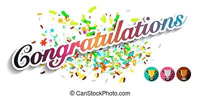 félicitations, coloré, salutation, isolé, fond, confetti, blanc, carte