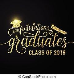 félicitations, diplômés, vecteur, noir, 2018, fond, graduations, classe
