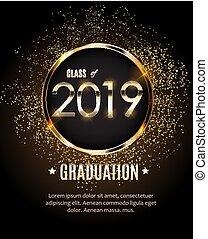 félicitations, illustration, vecteur, 2019, remise de diplomes, fond, classe