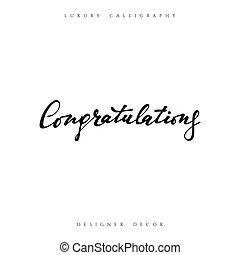 félicitations, inscription., calligraphic