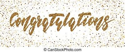 félicitations, moderne, -, main, stylo, brosse, dessiné, calligraphie, lettrage