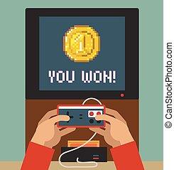 félicitations, moniteur, écran, jeu, vidéo, retro