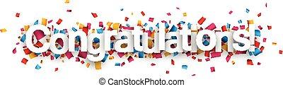 félicitations, papier, confetti, signe.