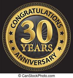 félicitations, ruban, or, 30, anniversaire, illustration, ...