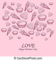 félicitations, rue., valentin, sweet-stuff, jour, carte
