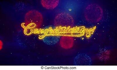 félicitations, salutation, texte, éclat, particules, sur,...
