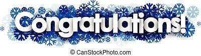 félicitations, snowflakes., bannière, bleu