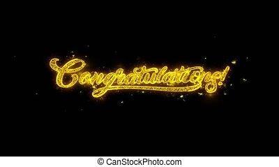 félicitations, typographie, écrit, à, doré, particules,...