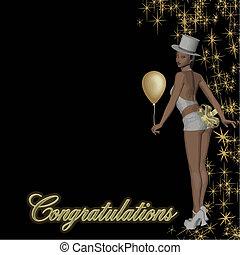 félicitations, vecteur, girl