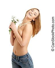 félig meztelen, hippi, leány, noha, white virág, #2