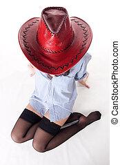 félmeztelen, leány, alatt, egy, cowboy kalap