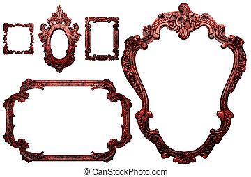 fém, antik, keret
