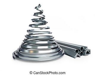 fém, fehér, fa, karácsony, háttér