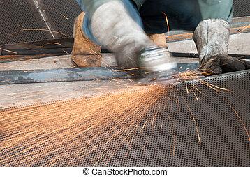 fém iparág, munkás, készít, őrlő