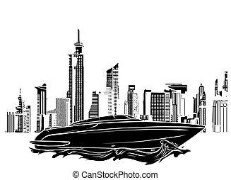 fényűzés, árnykép, csónakázik, fekete, város, vektor, gyorsaság, ábra, háttér