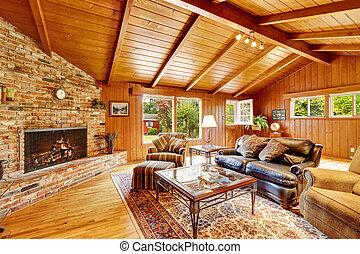 fényűzés, épület, fülke, kandalló, interior., fahasáb, nappali