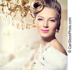 fényűzés, címzett, szépség, hölgy, portrait., retro, nő