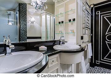 fényűzés, fürdőszoba, alatt, baroque mód