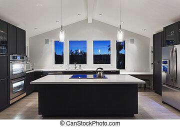 fényűzés, konyha, alatt, egy, modern, house.