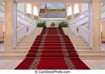 fényűzés, lépcsőház, belső, szoba