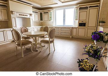 fényűzés, modern, szerelt, konyha, interior., konyha, alatt, luxury saját, noha, nyersgyapjúszínű bezs, cabinetry., asztal, és, elnökké választ