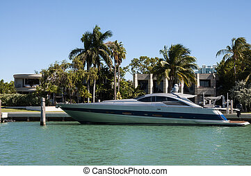 fényűzés, motor, jacht, képben látható, csillag, sziget, alatt, miami, florida, usa