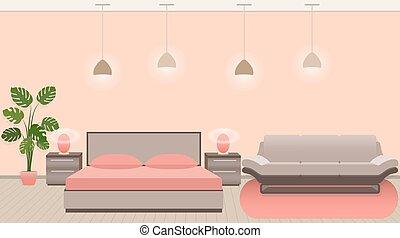 fényűzés, szálloda szoba, belső, noha, modern, mód, berendezés, és, világítás