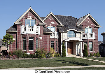 fényűzés, tégla, otthon, noha, elülső, hálószoba, erkélyek
