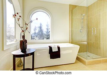 fényűzés, természetes, klasszikus, bathroom., új