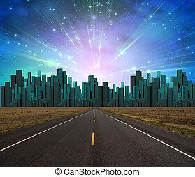 fény, út, város