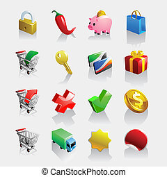 fény, e-commerce, iconset