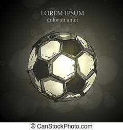 fény, elvont, vektor, tervezés, futball
