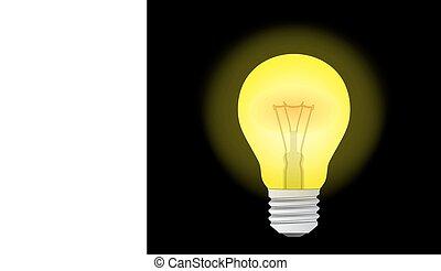 fény, izzó, sárga, gumó