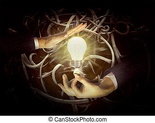 fény, kézbesít