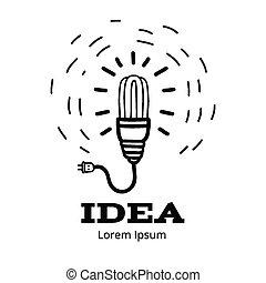 fény, kreatív, fogalom, gondolat, gumó