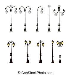 fény, lámpa, lengyel, utca, lámpaoszlop, állás, út